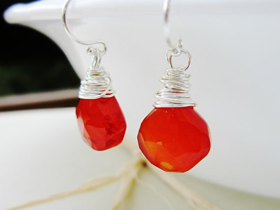 Red Chalcedony Earrings - Sterling Silver, tomato red, wire wrapped