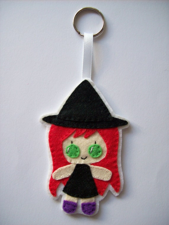 Little witch bag tag, Halloween, keyring, key chain, hanging decoration. Little Ladies collection