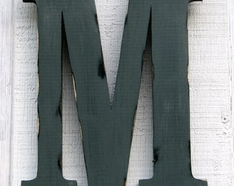 "Rustic Wooden Letter M Distressed Painted Pewter Grey,18"" tall Wood Name Letters, Custom Gift You Pick Color"