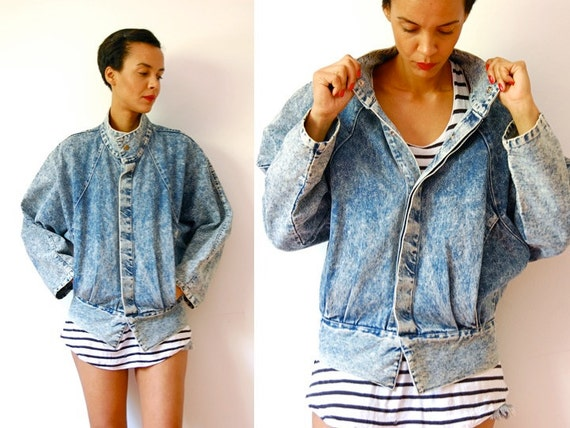Vtg Acid Wash Slouchy Button Up Denim Jacket w Pockets