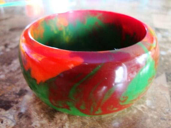 END of DAY MULTICOLOR Thick Domed Marbled Red Green Maroon Yellow Orange Brown Heavy Hand Made Resin Bangle Bracelet
