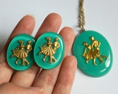 Vintage Dancing Couple Necklace and Earring Set Teal and Gold Colored