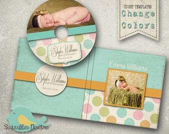 CD/Dvd Label PHOTOSHOP TEMPLATE  - dvd Case & Label Polkadots