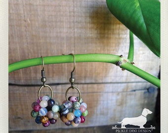 Colorburst Cluster. Dangle Earrings -- (Vintage-Style, Multi-Color, Beaded, Shabby Chic, Fun, Bright, Cute, Birthday Gift For Her Under 10)