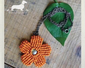 CLEARANCE! Marigold. Necklace -- (Flower, Orange, Daisy, Beaded, Bright, Romantic, Feminine, Vintage-Style, Autumn, Cute, Bridesmaid Gift)