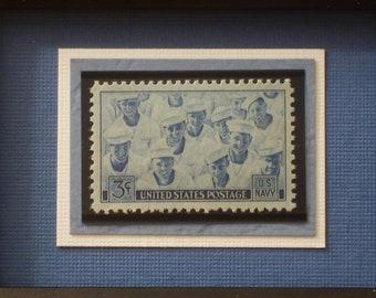 Anchors Away - Vintage Framed Navy Stamp - No. 935