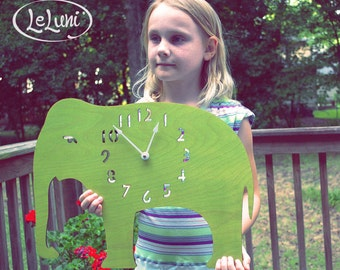 "The ""ENORMOUS Lime Green Elephant""  wall mounted clock from LeLuni"