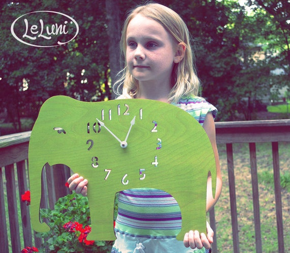 """The """"ENORMOUS Lime Green Elephant""""  wall mounted clock from LeLuni"""