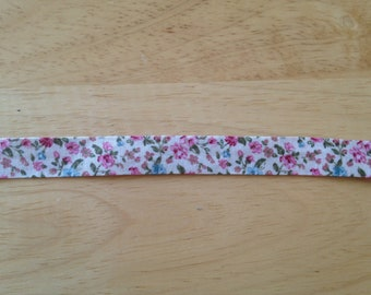 antique flower prints on fabric ribbon 1 yd