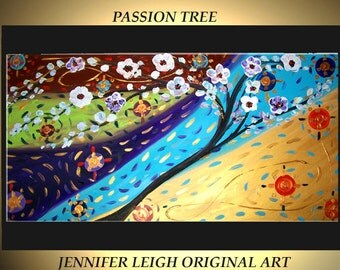 Original Large Abstract Painting Modern Contemporary Canvas Art Blue Gold Green Flower Tree 48x24 Palette Knife Texture Oil J.LEIGH