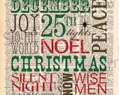 Vintage Dictionary December Christmas Subway Art Print -- plus FREE 5x7 monogram