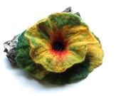 SALE BROOCH -Felted Flower Brooch Green Flower