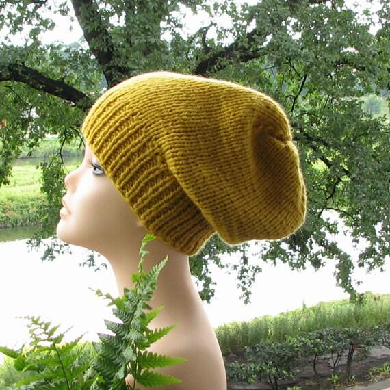 Slouchy hat beanie  - mustard yellow goldenrod