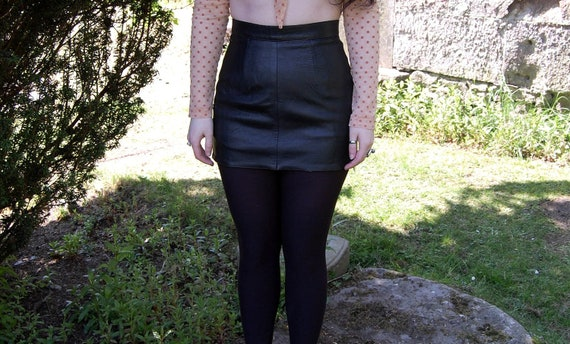 80s 90s Grunge Goth Leather Micro Mini Skirt Butter Soft XS / S
