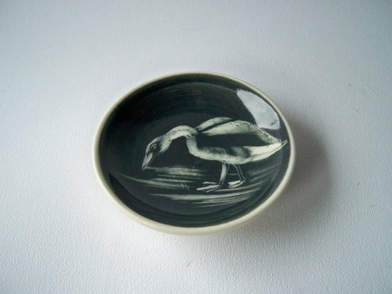 Vintage Tiny Plate Goose Black and White