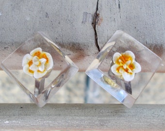 Square Sterling Screw Back Flower Earrings