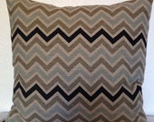 2 Pillow Covers 16x16 inch-Free US Shipping - Zoom Zoom Stone Denton Zig Zag Chevron Home Decor Fabric