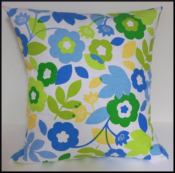 2 Pillow Covers 18x18-Free Shipping - Bright Colorful Blue Green Yellow on White Floral Home Decor Fabric