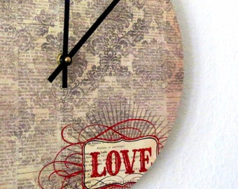 Unique Wall Clock, Home Decor, Housewares, Home and Living, Love, Mothers Day Gift, Home Wall Decor
