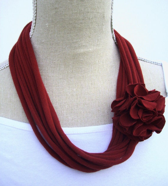 RESERVED Listing Cranberry Red Jersey Tee Noodle Necklace with Removable Flower Clip, Repurposed Recycled T-shirt Loop Scarf