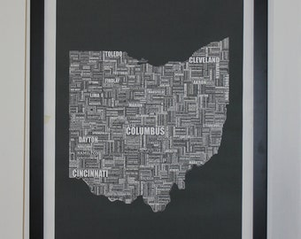 Ohio Typography Map Canvas Poster 24x36 Unframed or Stretched