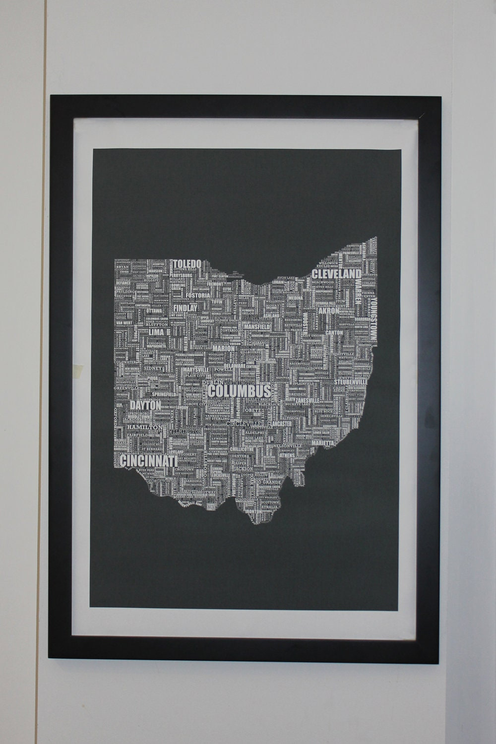 Ohio Typography Map Canvas Poster X Unframed Or Stretched - Us map poster 24x36