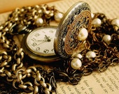 Pearl Pocket Watch Necklace Pendant - Antiqued Brass  and Swarovski Pearls - Vintage Style Victorian Locket Jewelry
