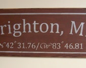 Customized  Longitude Latitude Sign - Pick Your Desination & Color - Handpainted Location Wood Sign Personalized
