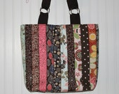 Crazy Quilted Striped Multicolored Large Purse Handbag Tote Bag