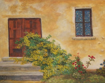 "Original Acrylic PRINT- ""Doorway""- Wall Art- Tuscan Style- 8x10, 11x14, or 16x20"