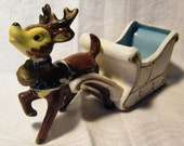 CLEARANCE Vintage Holiday Christmas Reindeer Sleigh Planter Vase Retro Kitsch