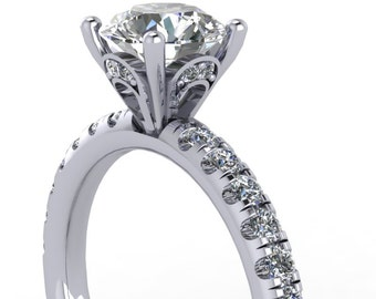 custom made rings, custom design rings,  moissanite and diamonds engagement Ring in 14kt gold  ,  style 23WDM