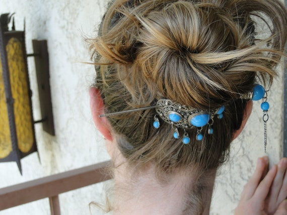 Decorative hair pin, turquoise inlay in a metal setting, hair jewelry, hair accessory, bridal hair