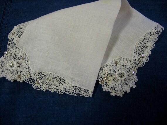 Vintage Rhinestones Handkerchief White Linen Lace Cocktail Hankie Hanky 1950s Elegance