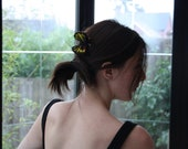 Flutter-Felt. Handmade Needle felted red and yellow butterfly hair comb