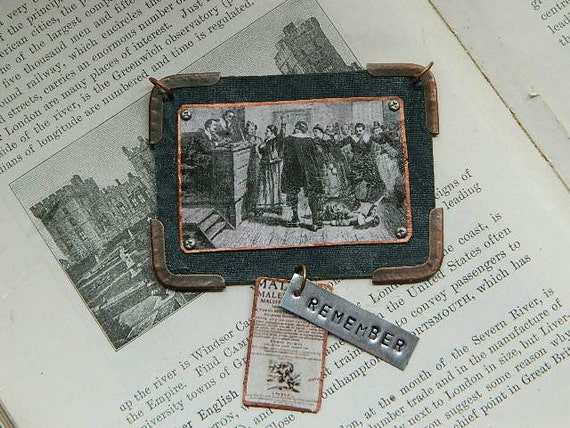 Witch Hunt Trials pendant mixed media jewelry with handstamped Remember tag Salem Witchcraft Wicca Halloween