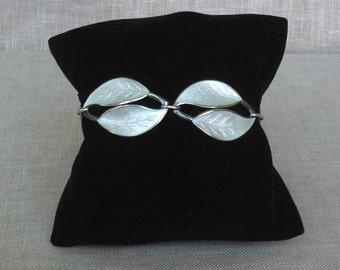 "Vintage DAVID ANDERSEN Sterling Silver ""Double Leaf"" Design  White Guilloche Bracelet c.1950's"