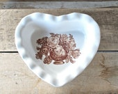 RESERVED, Heart Baking Dish With Vintage Bouquet, Pottery Pie Pan, Heart Pie Dish, Ready to Ship