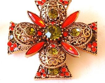 Emmons Rhinestone Maltese Cross Brooch Earring Set