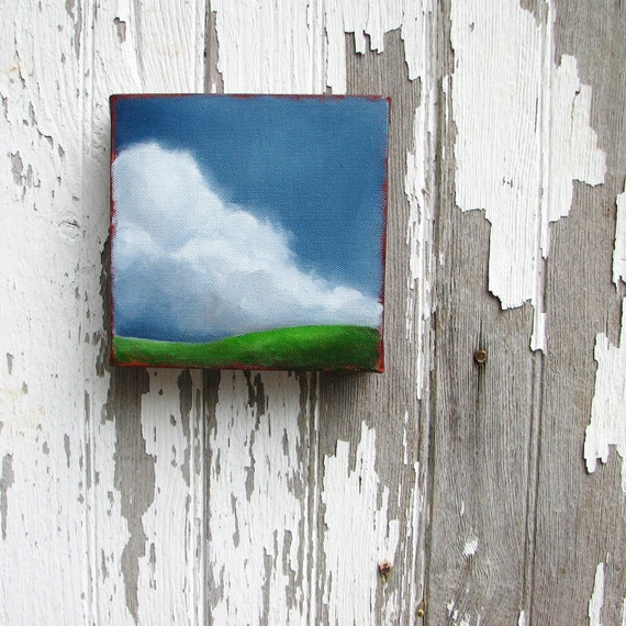 Landscape painting original oil green grass thunderstorm cloud wall art summer home decor - Stormscape series fortysix
