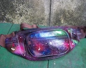 Handmade leather belt bag pack Fanny Pack with galaxy painted