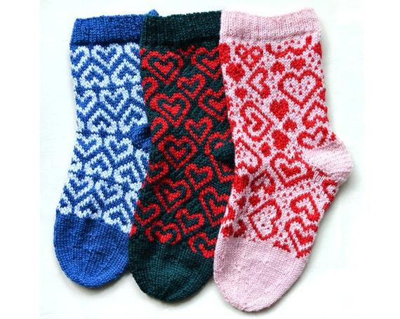 Christmas stockings pattern 3 HEARTS pattern knitting