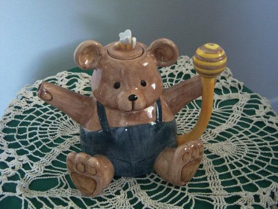 Vintage, 1980's Ceramic Teapot, Brown Bear With Honey Bee, Decorative Teapot