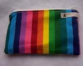 Small Rainbow Stripe Mama Cloth Make Up Wet Bag
