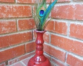 Bright Red Bud Vase with floral grassy accents