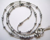 Perfect Classic Gray Glass Pearl Beaded Lanyard ID Badge Holder