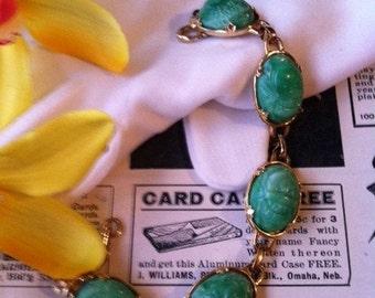 Vintage Gold Tone Green Scarab Link Bracelet