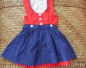 Vintage Red and Black Polka Dot Infant Sleeveless Dress with Matching Blue/White Apron
