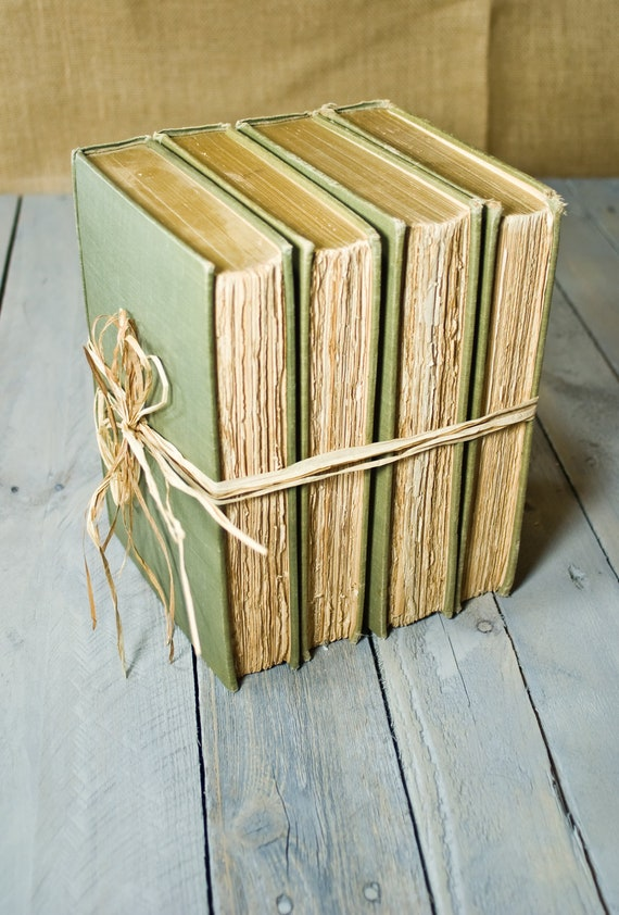 Green Vintage Books, Instant Library Collection, Decorative Book Bundle, Interior Design, Photography Props, Shades of green, Shabby Chic