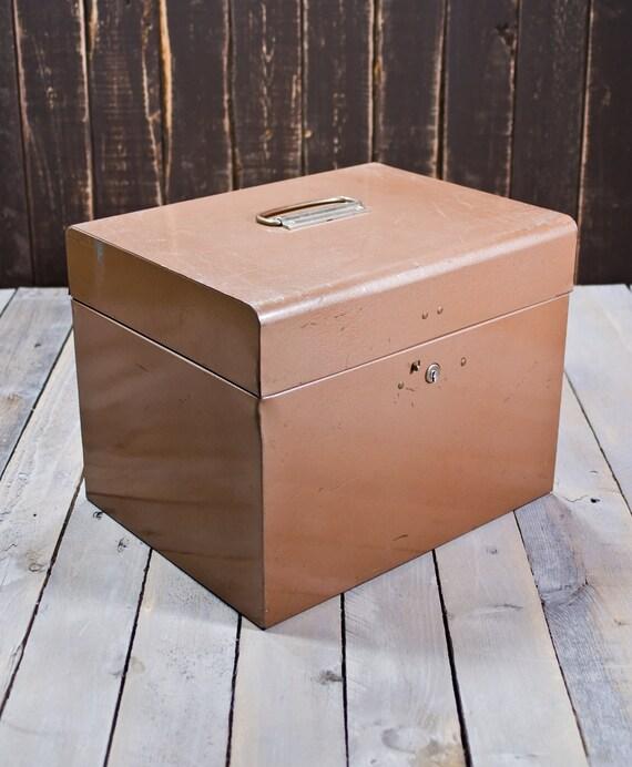 Vintage Brown File Box, Vintage Heavy Duty Metal file box, Office file box, Industrial File box
